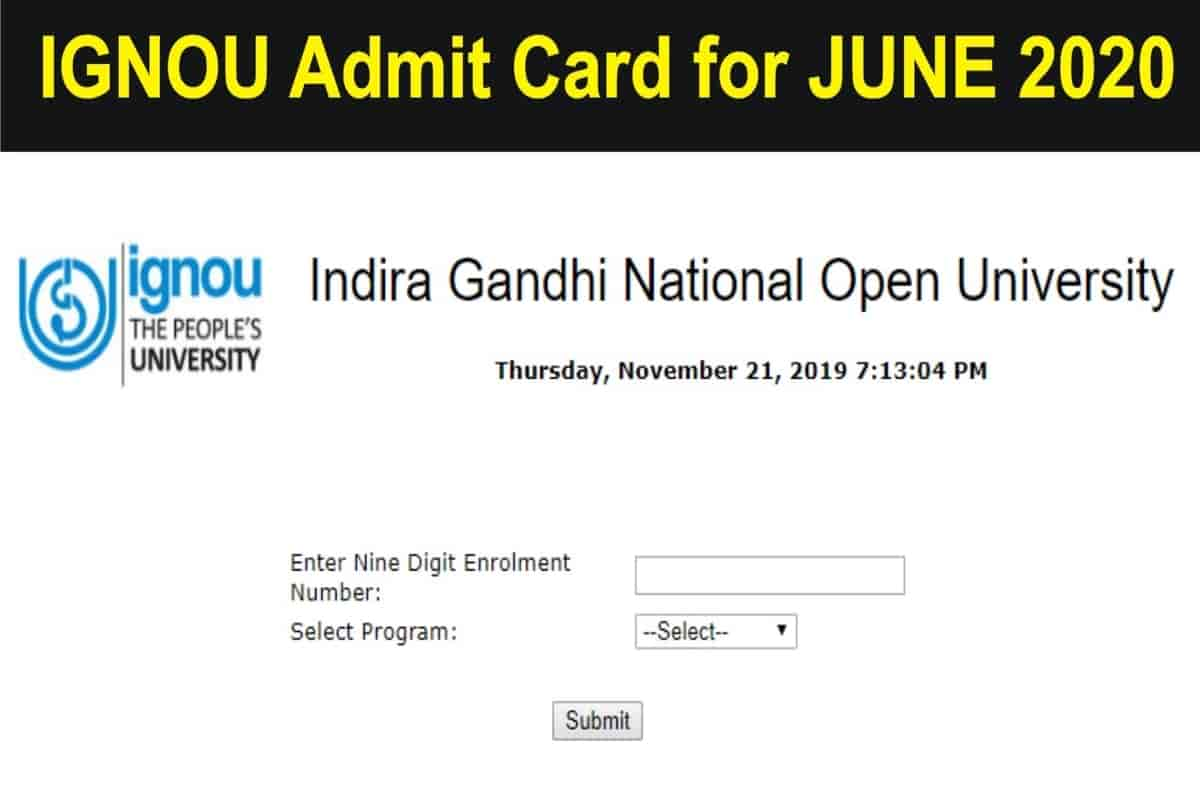 IGNOU June TEE Hall Ticket 2020 released, Check Here's How to Download