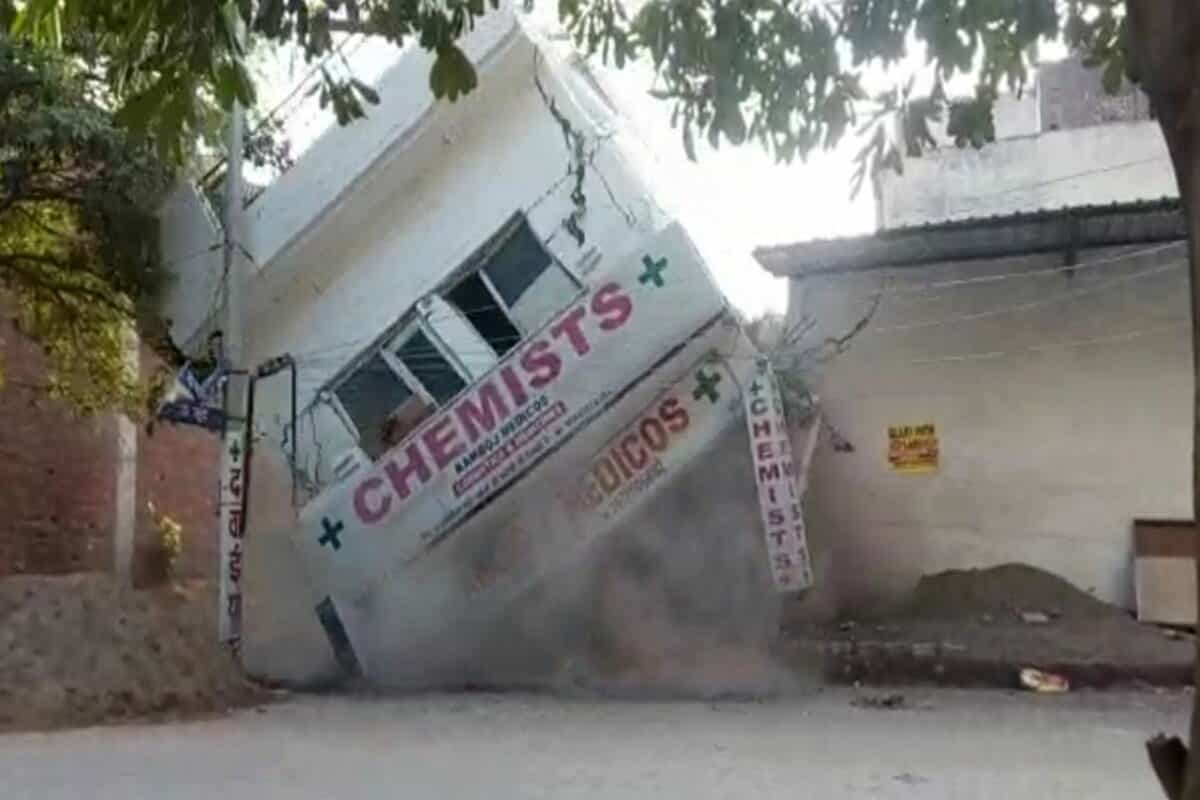 Mohali: People escape unhurt after two-storey showroom collapses at Zirakpu