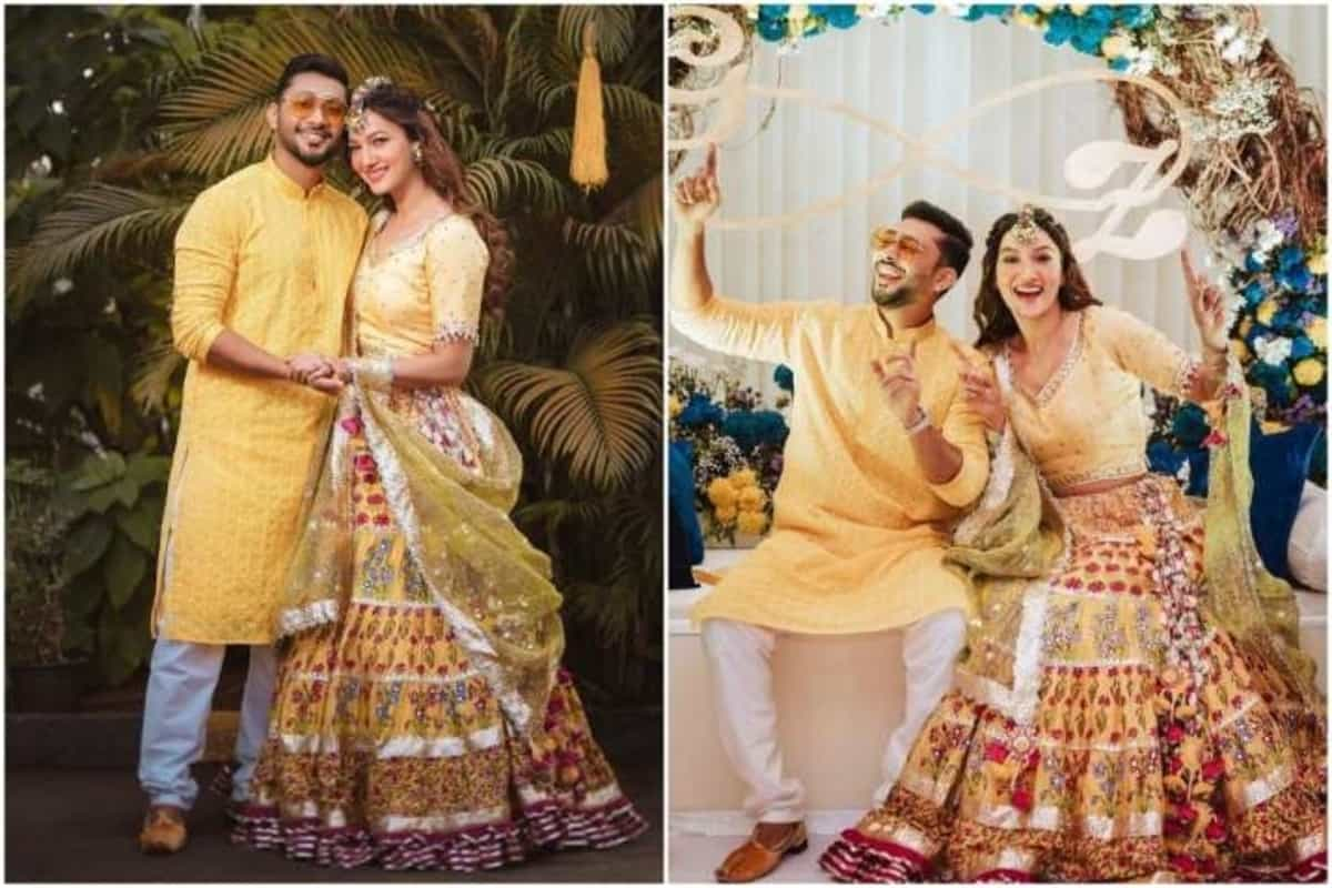 Gauahar Khan and Zaid Darbar twin in yellow at Chiksa ceremony