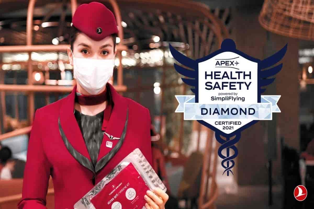 """Turkish Airlines achieved the highest """"Diamond"""" status in the health and safety review organized by APEX and SimpliFlying"""
