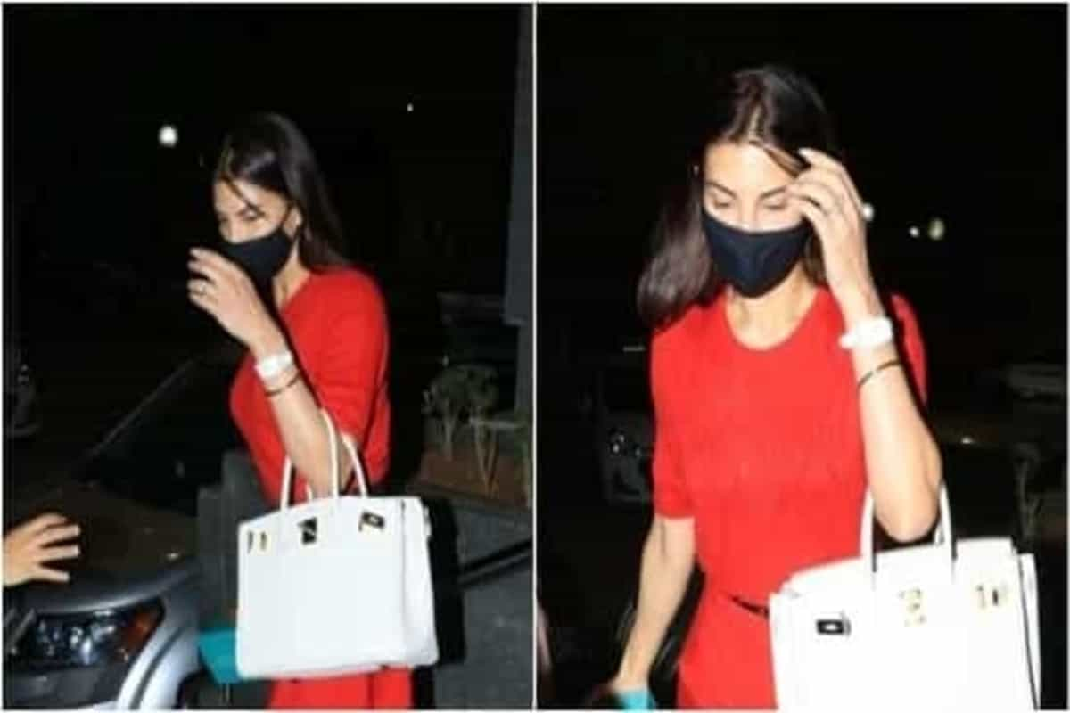 Jacqueline Fernandez paints the town red in bright summer dress and black heels
