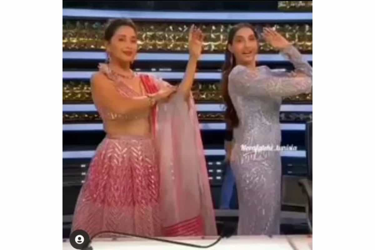 Madhuri Dixit looks pretty in pink lehenga while dancing with Nora Fatehi