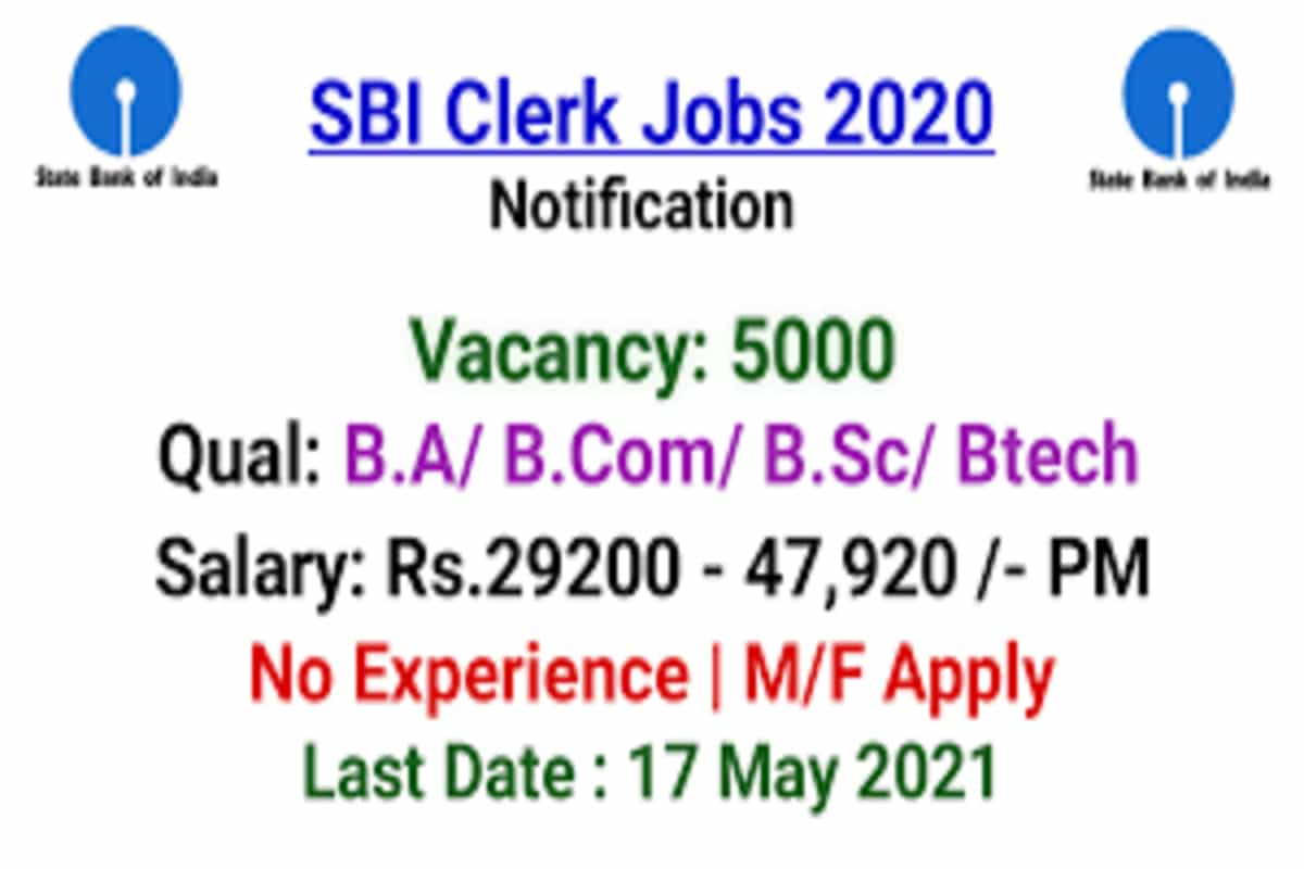 SBI Clerk recruitment 2021: Apply for 5000 junior associate posts